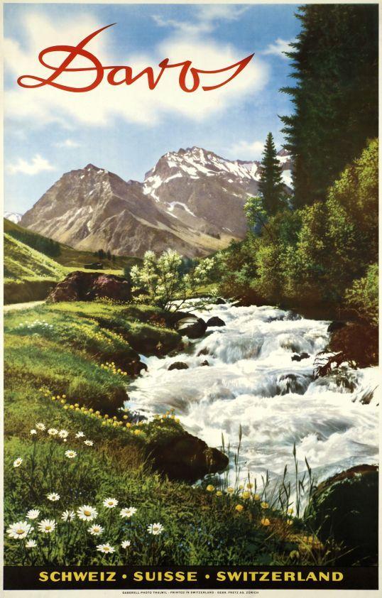 Davos. Schweiz - Suisse - Switzerland. Plakat von Jean Gaberell. 1950.