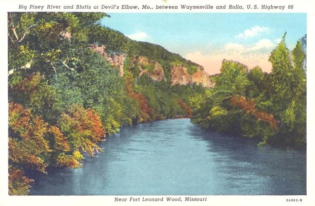 """Postcard (date unknown) - back reads """"Big Piney River with its cool sparkling waters, plentiful in game fish, studded with rugged mountains, is a natural paradise.""""  Located in Devil's Elbow, MO and named one of the """"Seven Wonders of Missouri""""!!!Missouri, Big Piney, Deviled Elbow, Games Fish, Rocks Climbing, Climbing Spots, Piney Rivers, Nature Paradise, Historical Route"""
