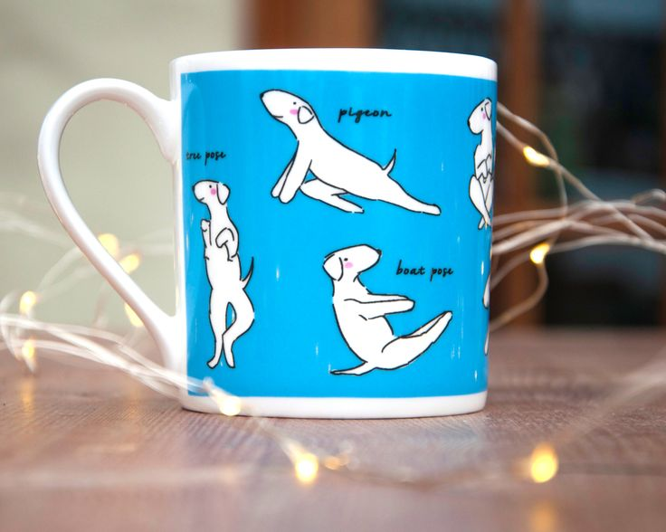Dog Yoga 'Doga' Funny Bone China Mug by LizzieMayDesign on Etsy