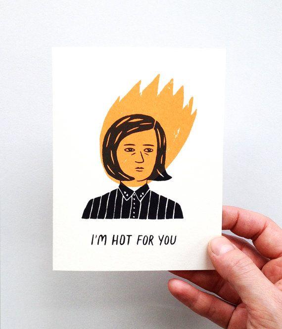 I'm Hot for You  Screen Printed Romance Card por triangletrees