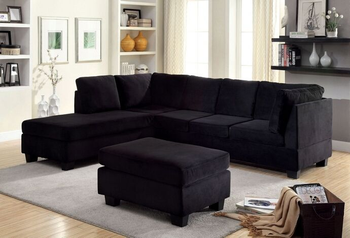 cm6316 2 pc lomma collection style black flannelette fabric upholstery sectional sofa - Leather Couches For Sale