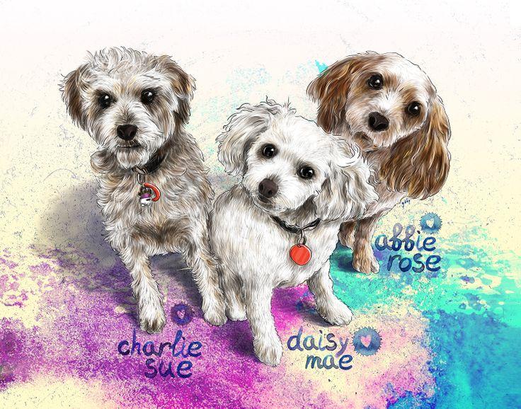 Commissioned portrait(s) of Charlie Sue, Daisy Mae and Abbie Rose :)  Commission info & requests: https://www.etsy.com/au/listing/191989009/custom-pet-portrait-beautiful-digital?ref=shop_home_active_2