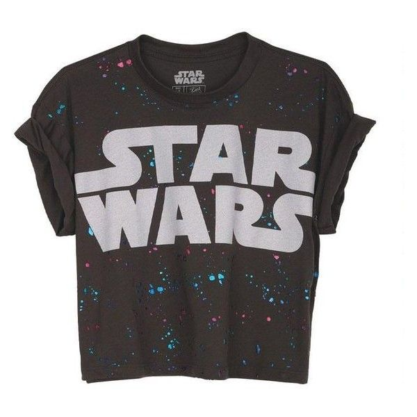 Splatter Star Wars Crop Tee ❤ liked on Polyvore featuring tops, t-shirts, shirts, cropped tees, cut-out crop tops, splatter t shirt, crop t shirt and crop top