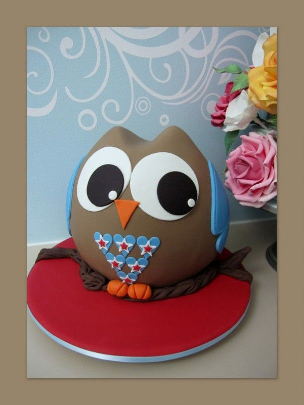 Owl On A Log Cake Ideas