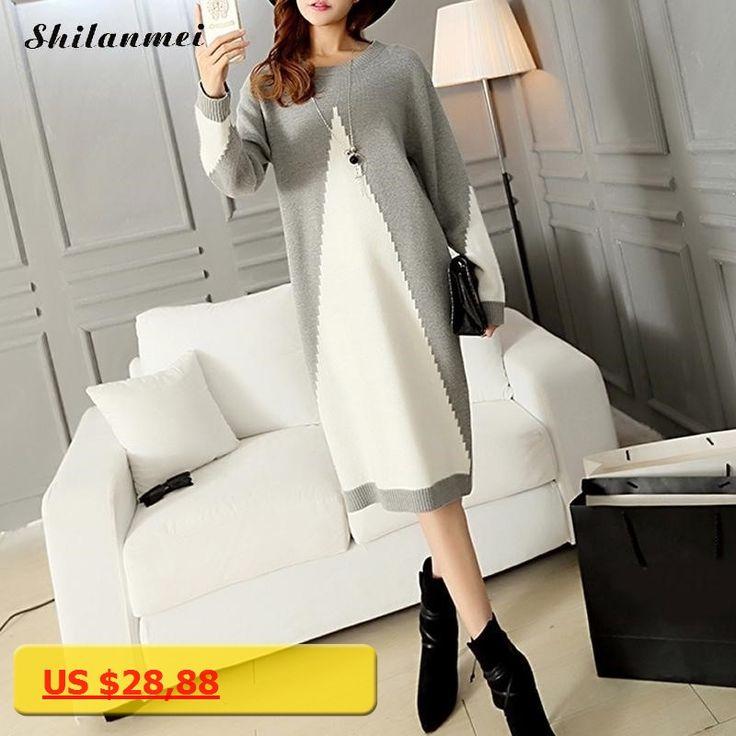 Women Sweater Dress Autumn Winter 2017 New Fashion Long Sleeve Dress Plus Size Women Grey Patchwork Knitted mid-calf Dresses