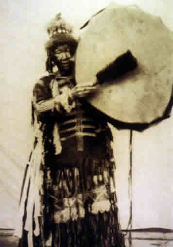 One of the characteristics of Siberian shamanism is, the vast majority of the shamans used special costumes on which images of their spirit helpers were attached.    The Sakha (Yakut) shamans of central Siberia wore up to two hundred iron pendants and ima