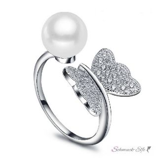 Silberring Zucht Perle weiß & Schmetterling mit Zirkonias...