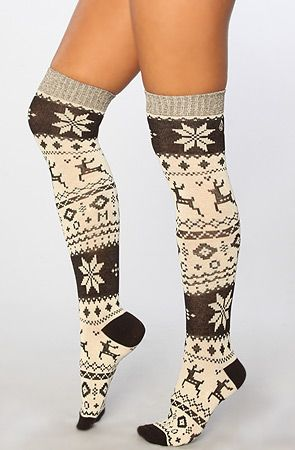 <3 oh yeah its that time of year! The Snow Days Knee Hi Sock in Black and White by Volcom