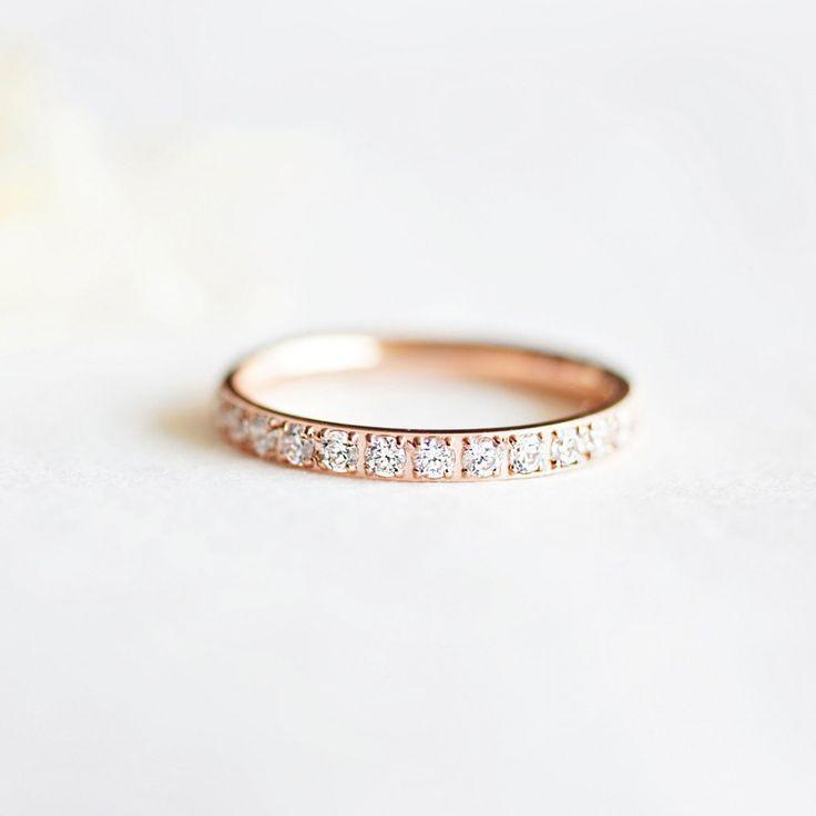 Inel placat cu aur roz - banda Cristale - MSM-Shop