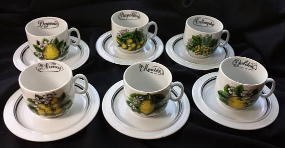 Porcelaine D'Auteuil Paris France 6 Vintage Demitasse Cups