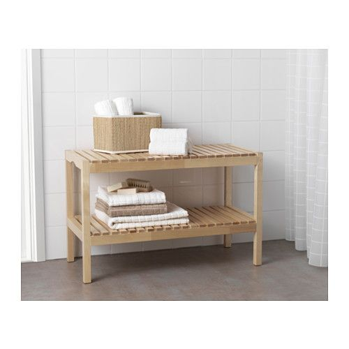 "Maybe this could be hacked to make for catbox cover/plant shelf in the bathroom by the ""steps""? MOLGER Bench - birch - IKEA"