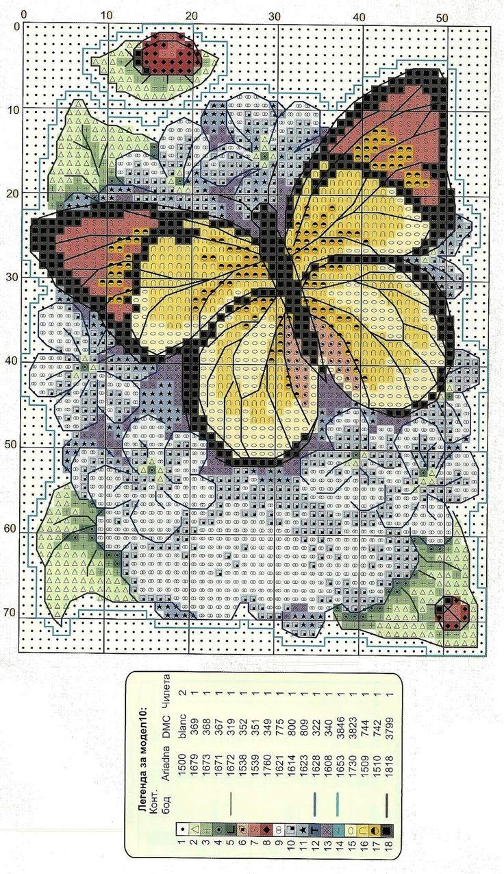 Ricami e schemi a Punto Croce gratuiti: Schemi Farfalle e fiori a punto scroce
