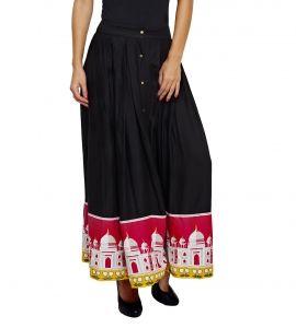 Jalebe trendy printed black skirt for women INDTJBL017