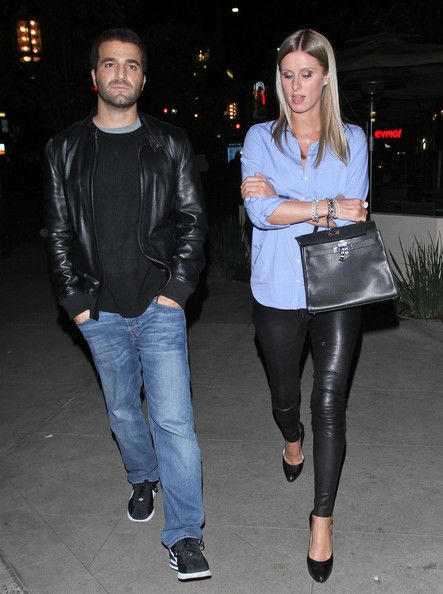 Nicky Hilton, leather and blue