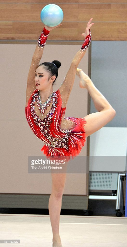 Sakura Hayakawa perfroms during the open training of the Japan rhythmic gymnastics team at Japan Institute of Sports Sciences on July 18, 2015 in Tokyo, Japan.