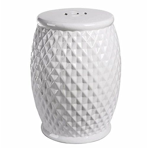 Abbyson Living Royala Tufted Ceramic Garden Stool in White. Includes: One (1) garden stool. Indoor or outdoor useWhite Ceramic White 18 inches high x 13 inches wide x 13 inches deep.