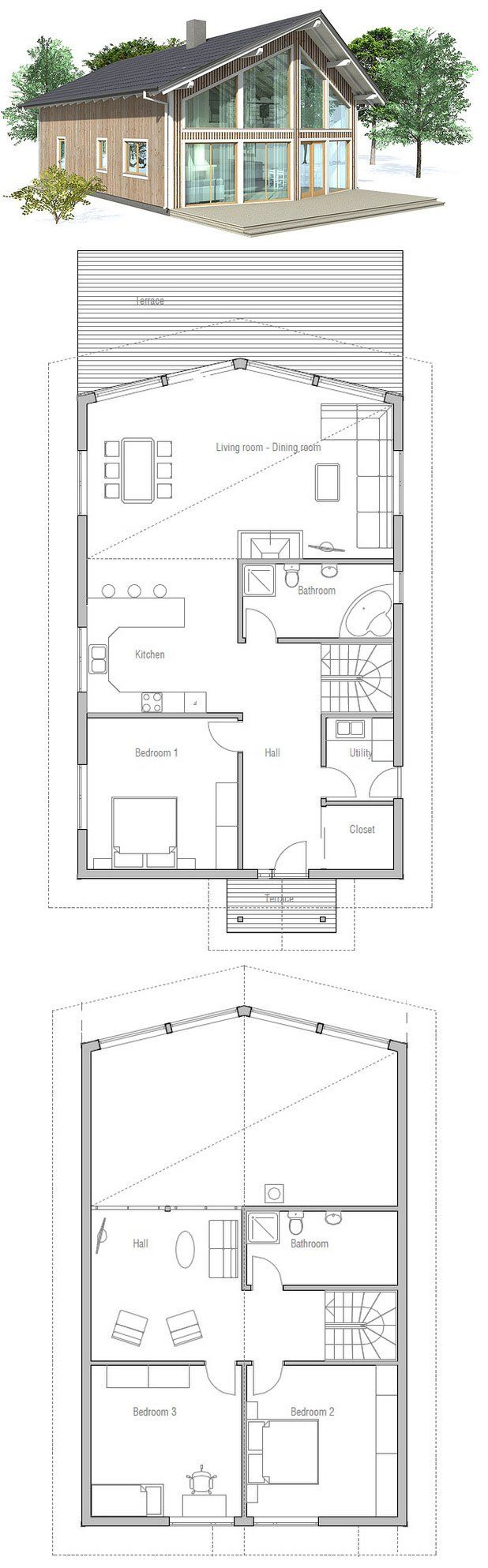 best 25 cabin plans with loft ideas on pinterest sims 4 houses small house plan to deep lot high vaulted ceiling in the living room tv area on the second floor three bedrooms no master bath and cut off kitchen
