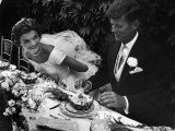 Senator John F Kennedy and Bride Jacqueline Enjoying Dinner at Their Outdoor Wedding Celebration