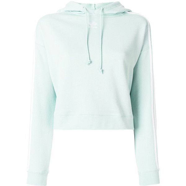Adidas cropped hoodie ($69) ❤ liked on Polyvore featuring tops, hoodies, green, white hooded sweatshirt, sweatshirt hoodies, long sleeve crop top, cropped hoodies and white cropped hoodie
