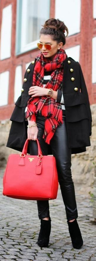 Street style fashion / karen cox. Red Prada handbag, plaid scarf & black winter coat combo, winter street style