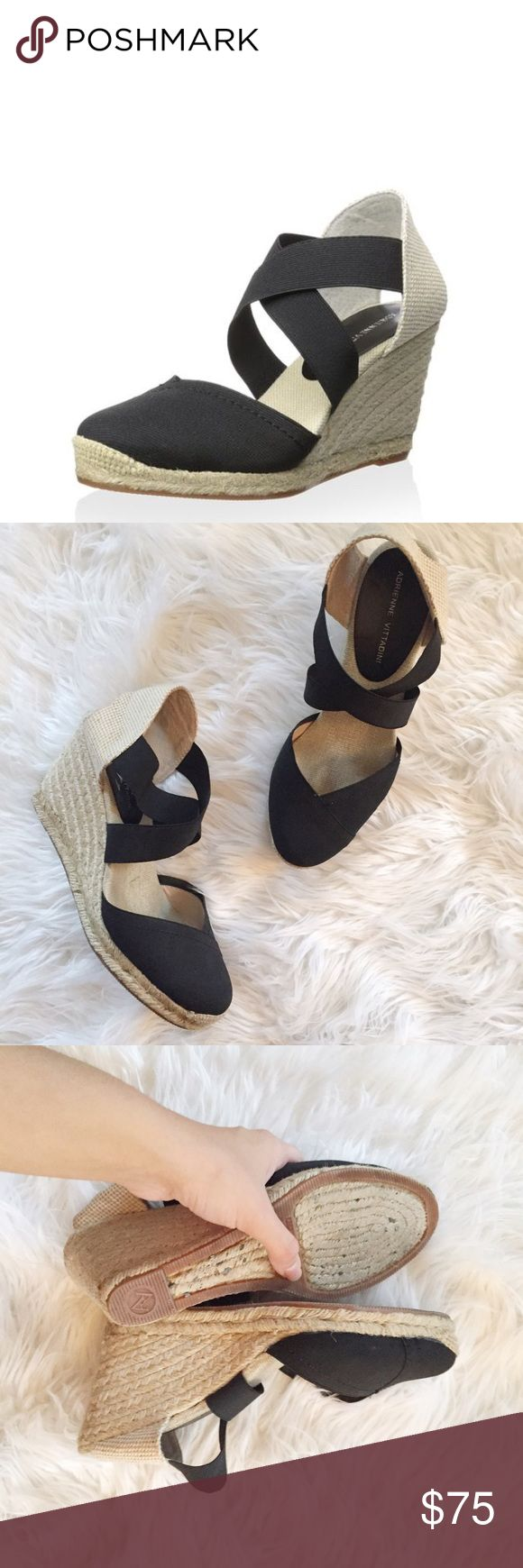 Adrienne Vittadini Black Espadrille Wedges Gorgeous Adrienne Vitadinni black espadrille wedges in excellent condition. Super cute! Perfect for spring and summer. No trades. 7fftu Adrienne Vittadini Shoes Wedges