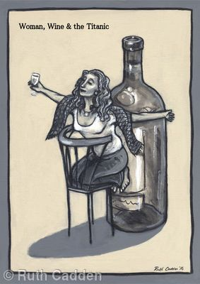Woman, Wine and the Titanic - Giclee Print