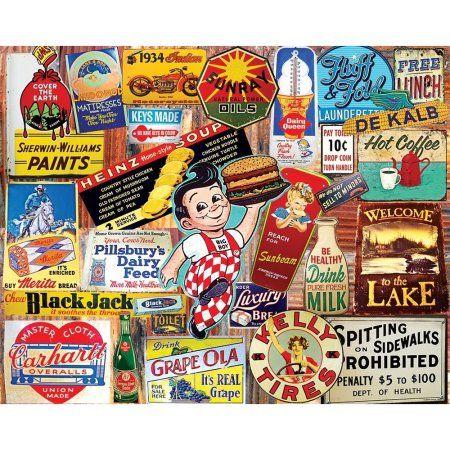 White Mountain Puzzles Vintage Signs - 1000 Piece Jigsaw Puzzle, Multicolor