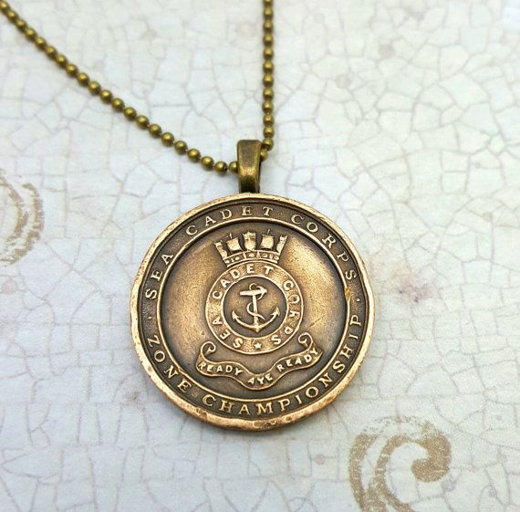 Anchor necklace. Sea Cadets medallion. Boxing by FindsAndFarthings