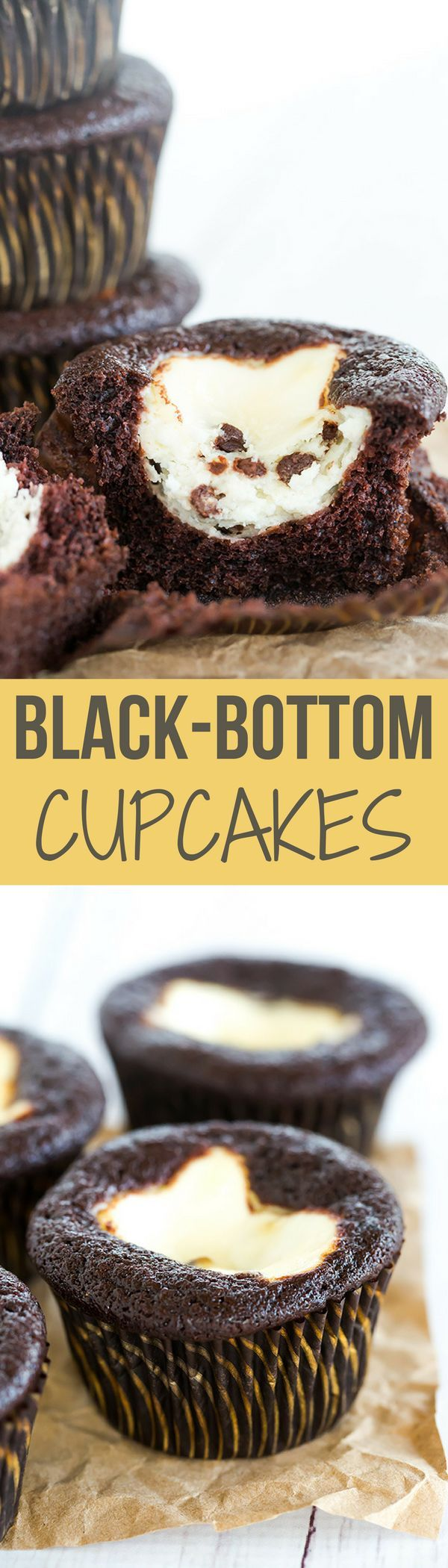 Classic black-bottom cupcakes - super moist chocolate cupcakes topped with a cheesecake filling and mini chocolate chips. The best of both worlds!