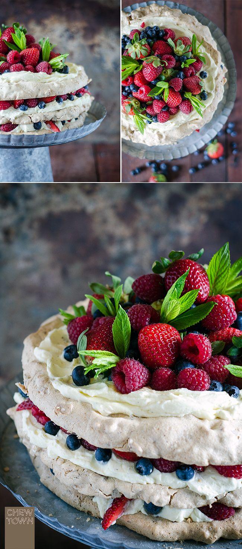 Layered Hazelnut Pavlova with Mascarpone Cream and Berries | Chew Town Food Blog