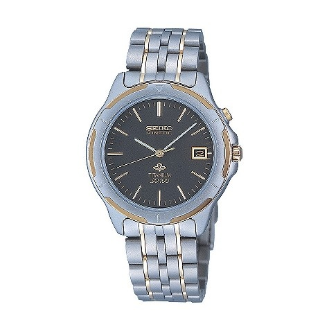 Seiko Kinetic men's titanium bracelet watch