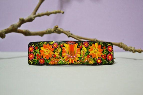 Hand painted Hair Barrette Wooden Hair Clip Handmade