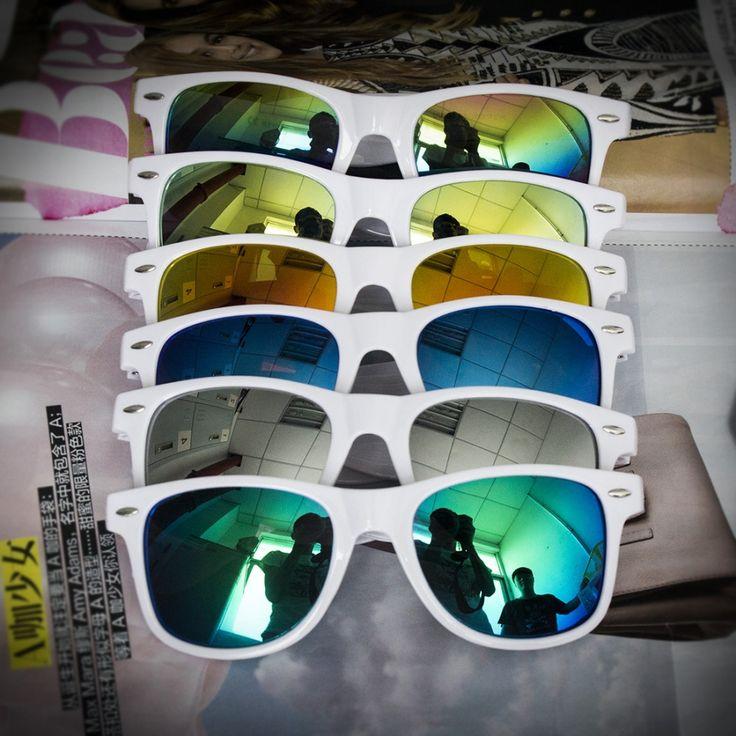 Солнцезащитные белые очки-вайфареры с зеркальной линзой (в наличии радужное зеркало) - 17873