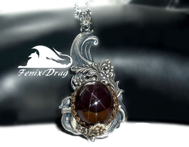 "Pendant ""Guiding Star"" with star garnet (almandine) in Vintage, Steampunk, Victorian, Gothic, Art Nouveau jewelry styles"