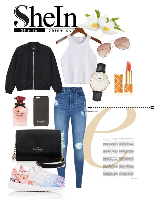 SheIn contest | spring style by neeacamillaa on Polyvore featuring Monki, Lipsy, NIKE, Kate Spade, CLUSE, Balmain, H&M, Tory Burch and Dolce&Gabbana