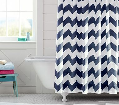 Chevron Shower CurtainI Like With The Turn Light Blue And