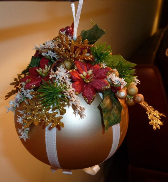 Victorian style Handmade Glass Christmas Ornament with Floral Arrangement Decoration