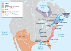 European occupation of North America at the start of Queen Anne's War, 1702.