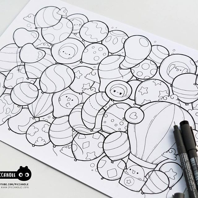 #inktober Day 23 - Balloons #inktober2016 Doodle Coloring Page