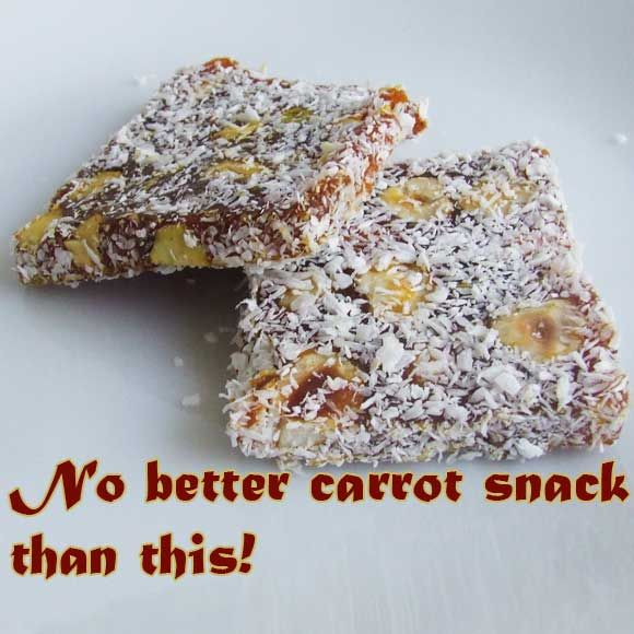 The best carrot dessert ever! It's like Turkish delight but with carrot and cinnamon flavors and coated with coconut. There are varieties with pistachio, walnut or hazelnuts.   giverecipe.com   #carrot #dessert #turkish