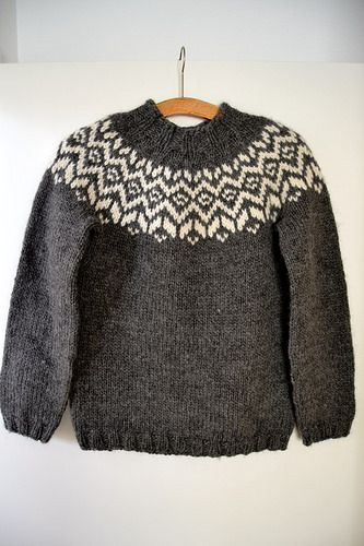 A cute little lopi-sweater for toddlers and kids. A traditional Icelandic yoke and high neck to keep warm during cold winter months.