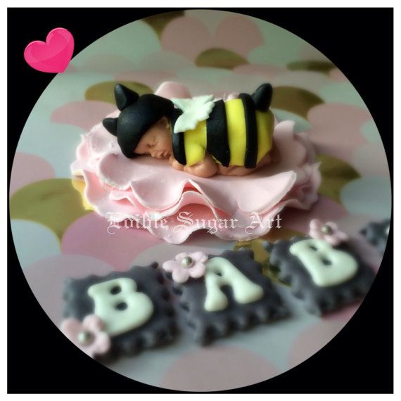 BUMBLE BEE BABY Shower Cake Topper Fondant Toppers Baby First Birthday Bumble Bee Flower Decorations