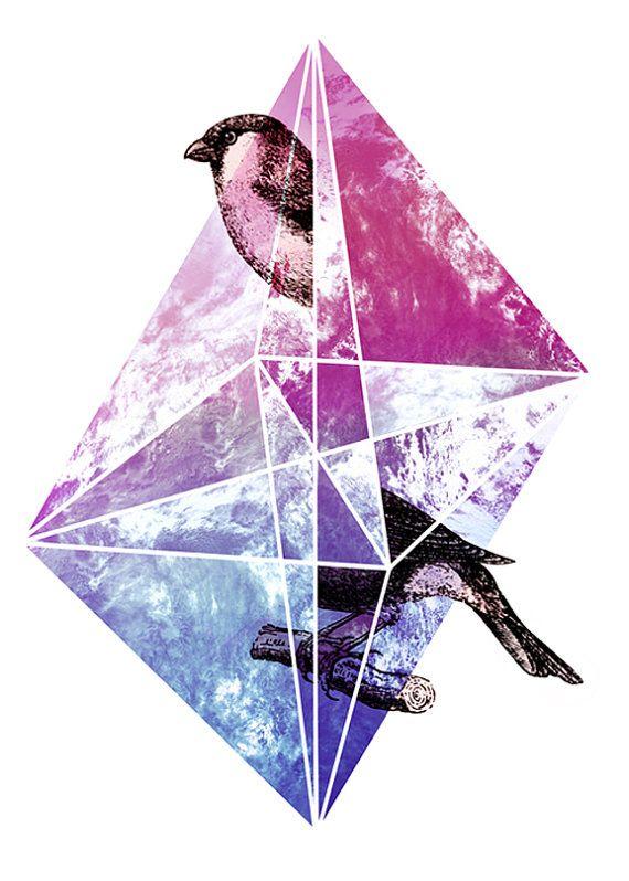 Perdidos en el espacio pájaro triángulos perdidos por yeohghstudio, $30.00