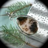 Dendritic Agate sterling silver pendant - Rusmineral cabochons&jewelry