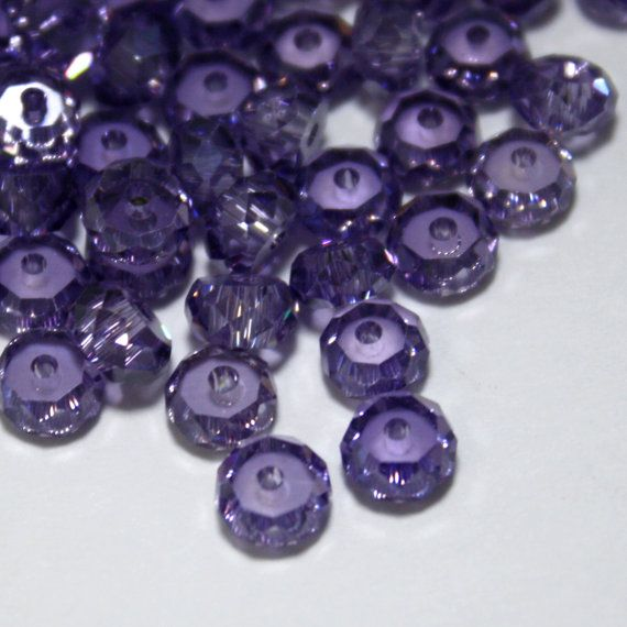 6 Cubic Zirconia Faceted Rondelle Beads in by ThisPurplePoppy