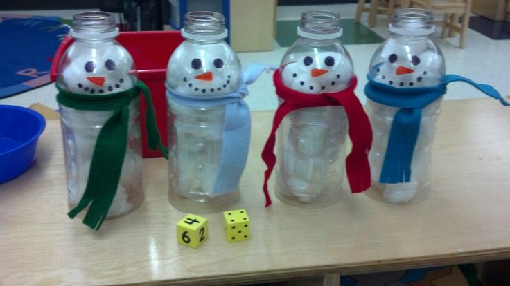 Plastic Bottle Snowmen Roll And Count Game Roll Dice Count Out Cotton Balls To Put Inside