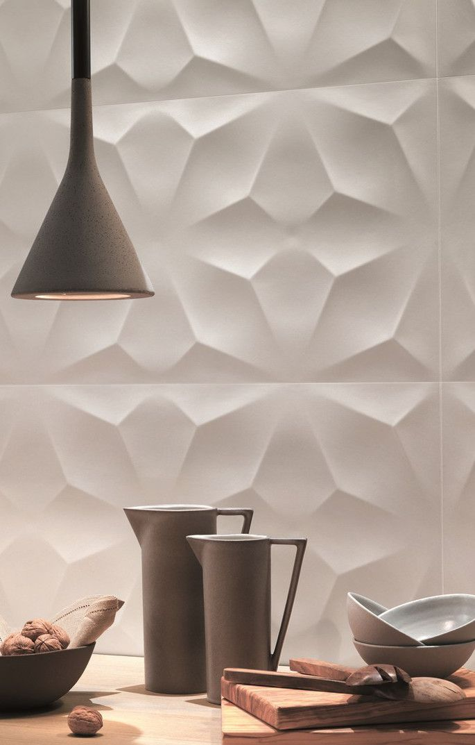 3d Wall Design By Atlasconcorde Sculptural Ceramic Wall Tiles 3d Diamond
