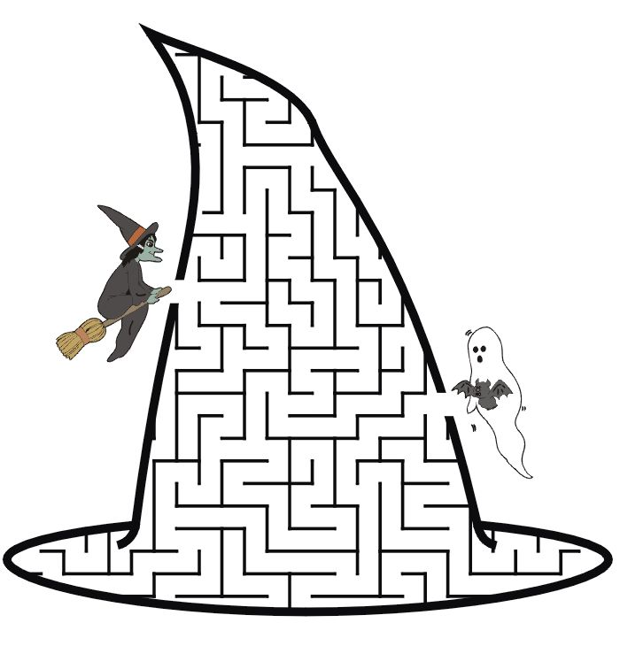 Witch's hat shaped maze from PrintActivities.com