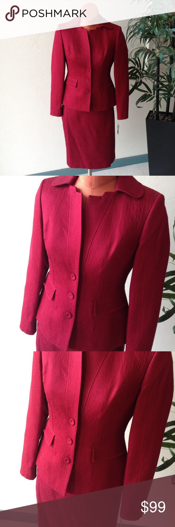 """ANNE KLEIN Petite Ruby Red Career Suit Why wear a boring suit - Jazz it up in this garnet/raspberry/ruby red suit with pleated back  Maker:   Anne Klein Fabric:  Cotton Wool Silk Blend Listed Size: 2 Petite Approximate measurements taken laid flat: Jacket: Armpit to armpit: 17.5"""" Sleeve length: 22.5"""" Length: 21.5"""" Skirt Waist: 14.5"""" Hips: 18.5"""" Length : 19.75"""" NEW with tags and coming from a non smoking home. GA0C10 Anne Klein Jackets & Coats Blazers"""