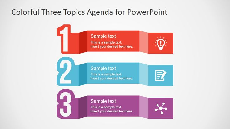 Free Colorful Three Topics Agenda for PowerPoint | Bullets ...
